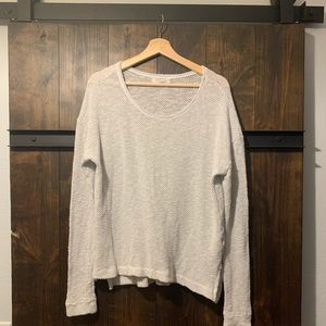 White Loose-knit Pullover Crewneck Sweater